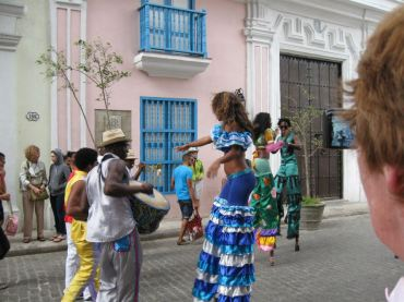 stilts and drums