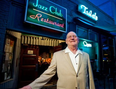Mack Waldron in front of his jazz club, Tula's.  Photo by Daniel Sheehan (danielsheehan.com)
